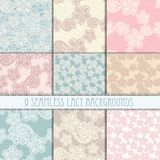 Lacy seamless pattern set Stock Images