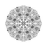 Lacy Tantric Ornament redondo blanco y negro stock de ilustración