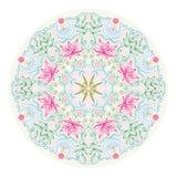Lacy Tantric Ornament redondo colorido stock de ilustración