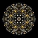 Lacy Tantric Ornament redondo de oro ilustración del vector