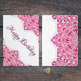 Lacy vector birthday card template. Romantic vintage wedding inv Royalty Free Stock Photos
