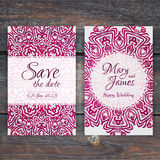 Lacy vector wedding card template. Romantic vintage wedding invi Stock Photos
