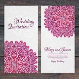 Lacy vector wedding card template. Romantic vintage wedding invitation. Abstract circle floral ornament. ethnic design vector illustration