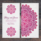 Lacy vector wedding card template. Romantic vintage wedding invi Stock Photography
