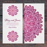 Lacy vector wedding card template. Romantic vintage wedding invi Stock Photography