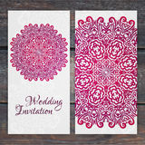 Lacy vector wedding card template. Romantic vintage wedding invitation. Abstract circle floral ornament. ethnic design stock illustration
