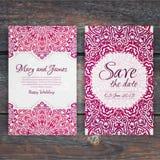 Lacy vector wedding card template. Romantic vintage wedding invi Stock Photo