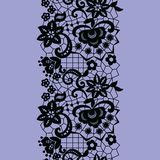Lacy vintage trim. Black lacy vintage elegant trim. Vector illustration Royalty Free Stock Photography