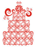 Lacy wedding cake. Vector illustration  Royalty Free Stock Photography