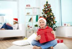 Lad with gift Royalty Free Stock Photography