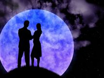 The Lad with girl. The Lad with girl on background of the enormous moon and starry sky stock illustration
