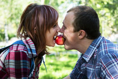 Lad and girl. Keeps in teeth apple Stock Image