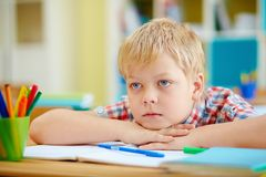 Lad at lesson Stock Image