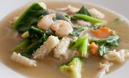 Lad Nah Shrimp Noodle Thai food. In Thai Restaurant Stock Photos