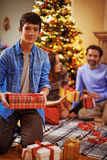 Lad with presents Royalty Free Stock Image