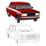 Lada 2107 silhouette vector illustration