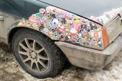 Lada Car Covered nas etiquetas Foto de Stock