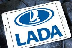 Lada car logo. Logo of lada car brand on samsung tablet royalty free stock photo