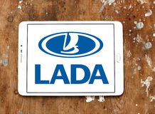 Lada car logo. Logo of lada car brand on samsung tablet on wooden background royalty free stock photo