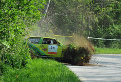 Lada Samara Rally Car Crash. In the picture we see a Lada Samara rally car crash while the leader of the helmet flew off and out of the car. Kriston Stephen is Stock Photos
