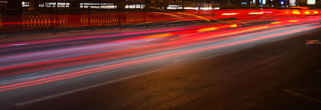 Ślada samochodów headlamps noc Freezelight Noc Kyiv kiev Obraz Royalty Free