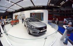 Lada Vesta-Konzept an der Automobilausstellung Tscheljabinsk - 2015 am 23. Mai Tscheljabinsk, Russland Lizenzfreies Stockbild