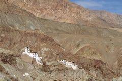 Ladakh的Basgo佛教徒修道院,印度 免版税库存图片