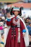 Ladakh遗产节日的舞蹈演员  免版税库存图片