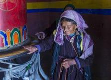 The Ladakh festival 2017. LEH, INDIA - SEPTEMBER 20, 2017: Portraite of Ladakhi woman during the Ladakh Festival in Leh India on September 20, 2017 Stock Images