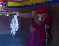 The Ladakh festival 2017. LEH, INDIA - SEPTEMBER 20, 2017: Portraite of Ladakhi woman during the Ladakh Festival in Leh India on September 20, 2017 Stock Photography