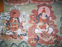 Ladakh, India, illustrazioni di parete medioevali Fotografia Stock