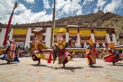 Hemis Tsechu, a Tantric Buddhist ceremony at Hemis monastery, with tantric mask dancing/Cham dance performed by the monks. Stock Images