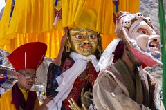 Tibetan lamas dressed in mystical mask dance Tsam mystery in time of buddhist festival at Hemis Gompa, Ladakh, North India Royalty Free Stock Photography