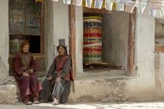 LADAKH, INDIA - van 2018 14 Sep: Niet geïdentificeerde tibetan Boeddhistische D royalty-vrije stock foto