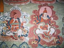 Ladakh, la India, gráficos de pared medievales Foto de archivo