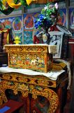 Ladakh - Lamas praying seat inside the temple Royalty Free Stock Photos