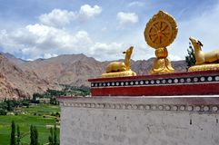 Ladakh landscape with buddhist decoration Royalty Free Stock Images