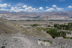 Ladakh landscape showing human settlement and Himalayan mountains in the background Stock Photos