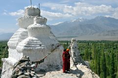 Ladakh landscape with stupa and monks Royalty Free Stock Photo