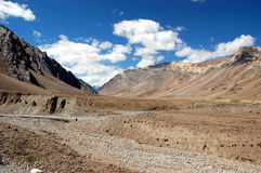 Ladakh river-basine. View on ladakh landscape during the way from Manali to Leh Royalty Free Stock Images