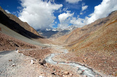 Ladakh road. View on ladakh landscape during the way from Manali to Leh Royalty Free Stock Images