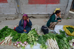 Ladakhi ladies selling fruit and vegetables Stock Photo