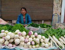 Ladakhi ladies selling fruit and vegetables Royalty Free Stock Images