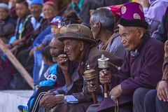 Leh district , Jammu and Kashmir, India, June 2016, Ladakhi people watching Hemis festival royalty free stock photography