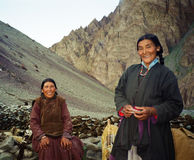 Ladakhi shepherdesses dressed in traditional garments pose to a Stock Image