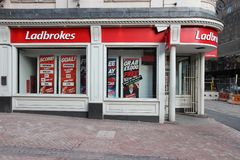 Ladbrokes sports betting. BIRMINGHAM, UK - APRIL 19, 2013: Ladbrokes betting and gaming shop in Birmingham, UK. Ladbrokes has 2,400 retail betting shops in the Royalty Free Stock Photos