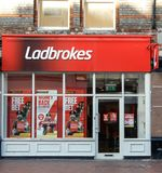 Ladbrokes Store Front. Reading, United Kingdom - June 22 2018: The store frontage of Ladbrokes bookmakers in West St Stock Image