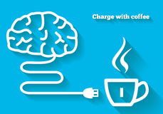 Ladda din mening med kaffebegrepp Royaltyfri Fotografi
