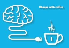 Ladda din mening med kaffebegrepp Hjärnsymbolen med kabel laddar från kaffe Arkivbild