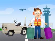 Ladda och lasta av bagage på flygplatsen Arkivfoton